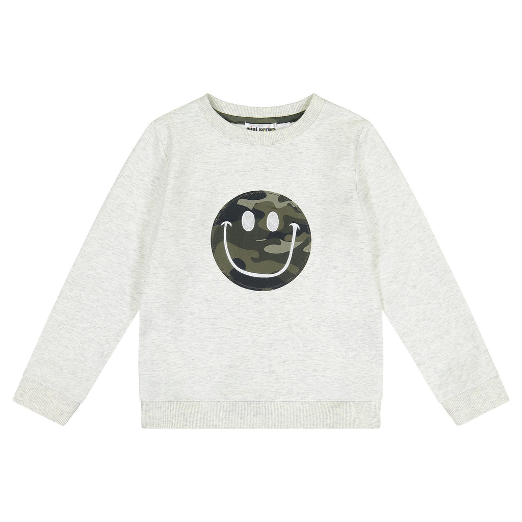 Boys Flocked Smiley Face Camo Sweatshirt - Andy & Evan