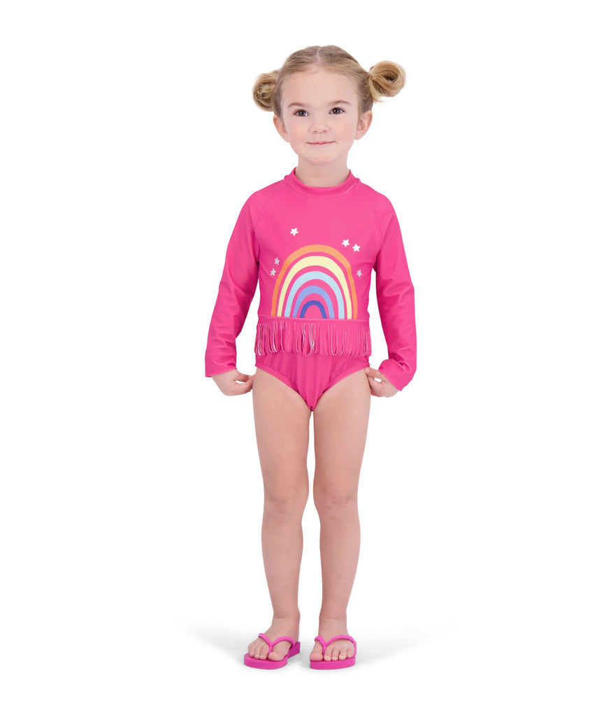 UPF 50 Girls Rainbow Long Sleeve Swimsuit - Andy & Evan