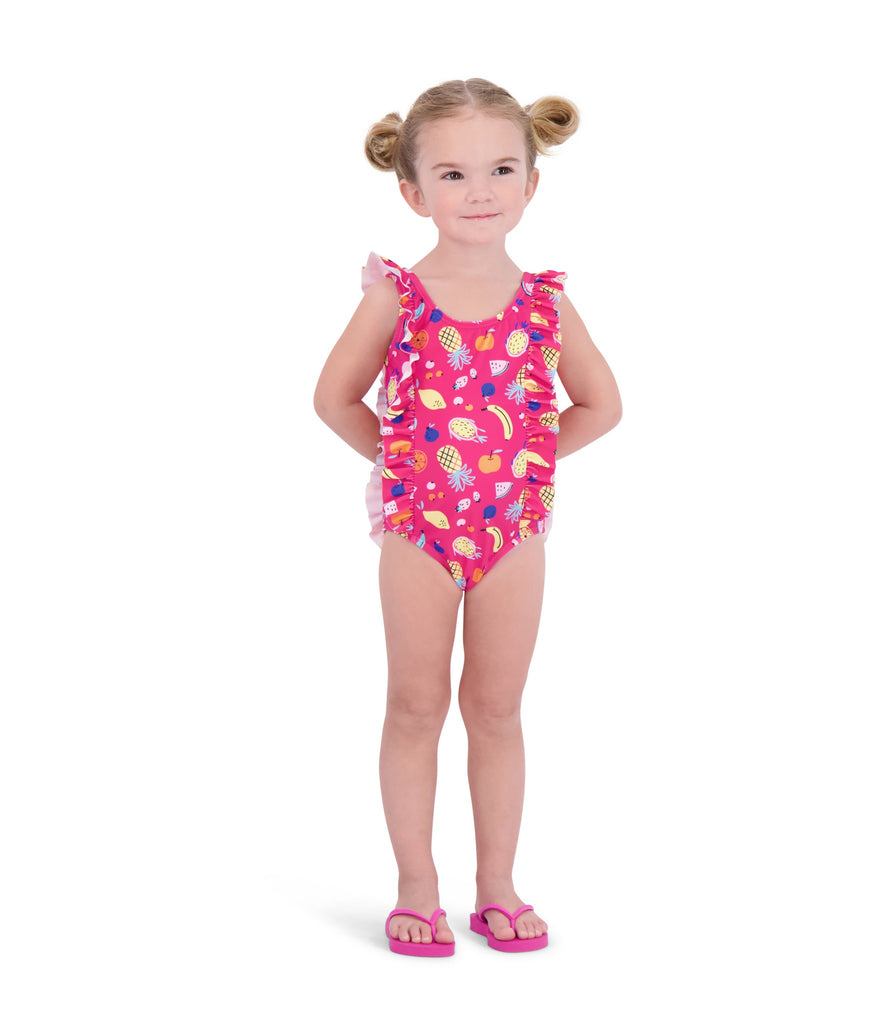 UPF 50 Girls Fruity Ruffle Swimsuit - Andy & Evan