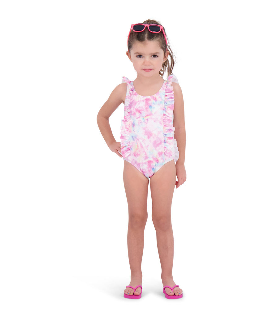 UPF 50 Infant Girls Tie Dye Ruffle Swimsuit - Andy & Evan