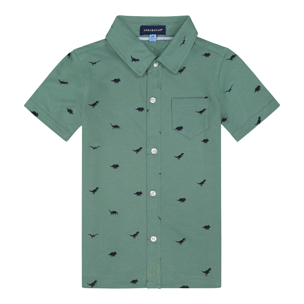 Boys Olive Dino Knit Button Down Shirt - Andy & Evan