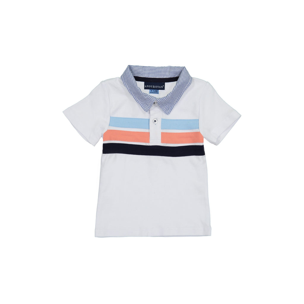 Baby Boys White Pique Polo Set - Andy & Evan