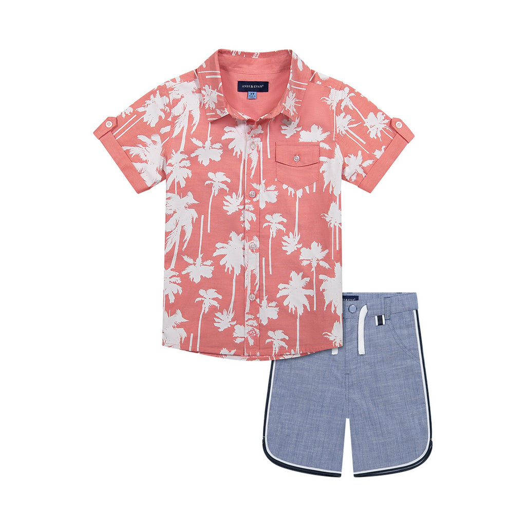 Infant Boys Coral Palm Button Down Shirt - Andy & Evan