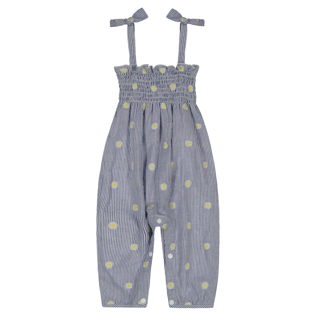 Infant Girls Seersucker Floral Embroidery Romper - Andy & Evan