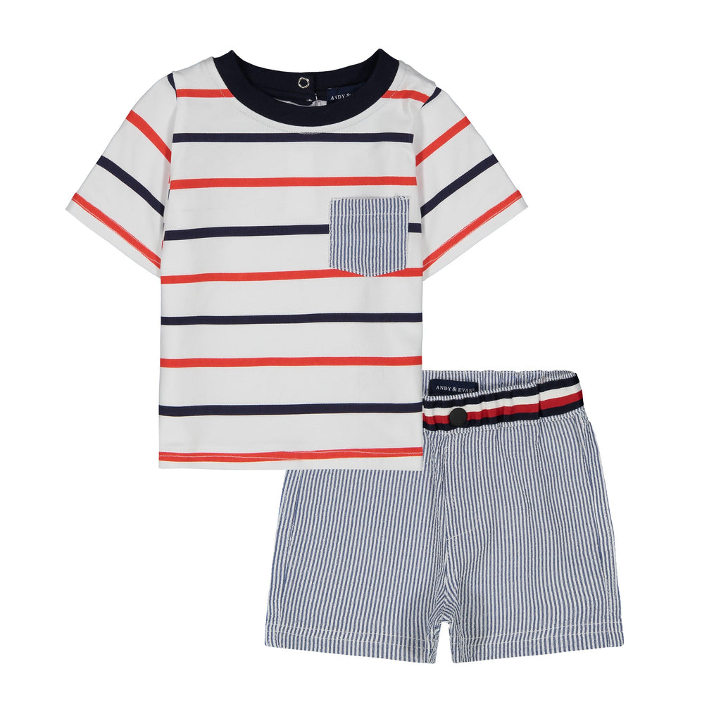 Infant Boys Nautical Stripe Tee Shirt Set - Andy & Evan