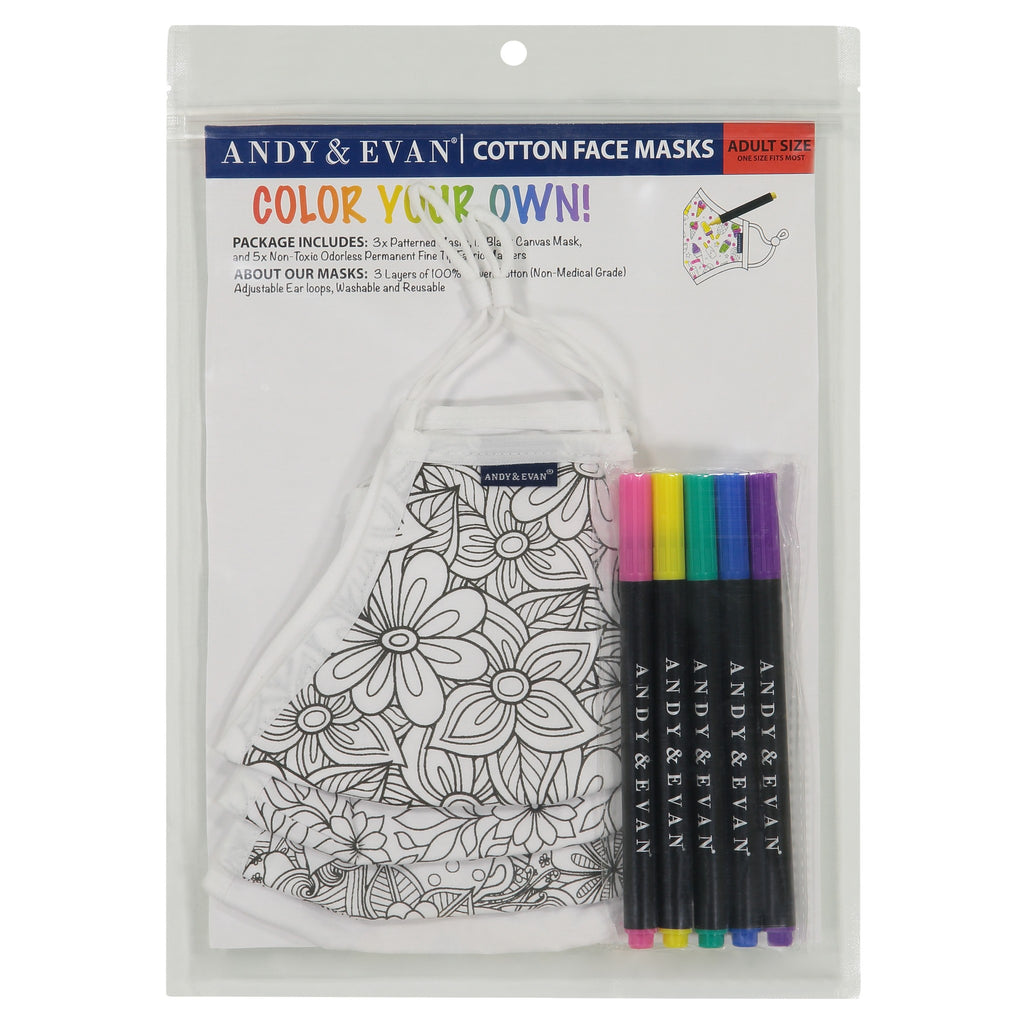 Adult Coloring Face Masks (4-Pack) - Andy & Evan