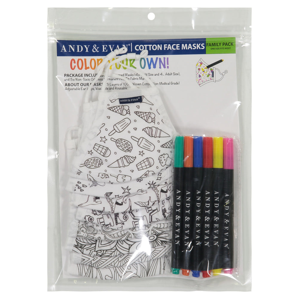 Family Assortment (8-Pack) - Coloring Face Masks - Andy & Evan