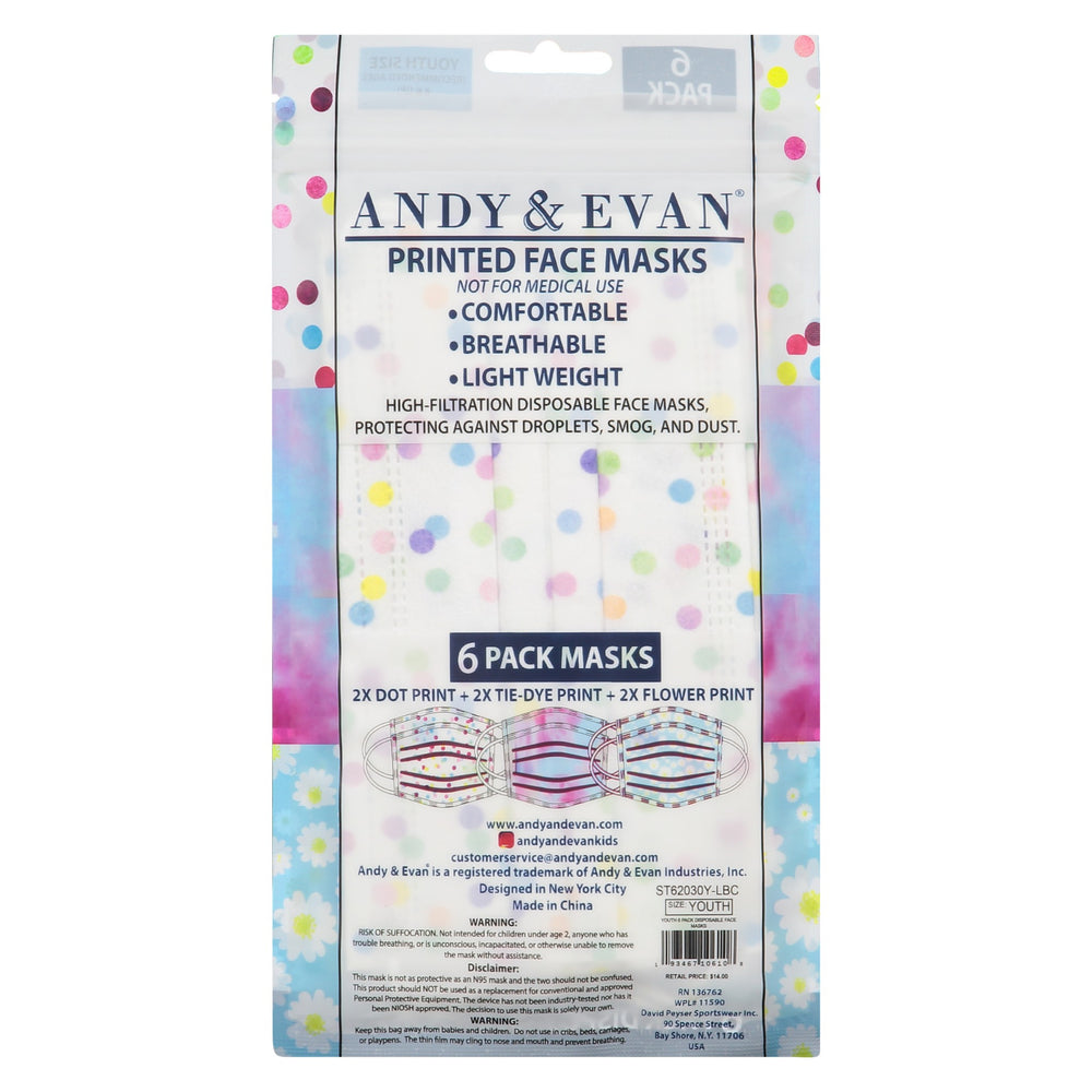 Youth (8 & Up) Disposable Fashion Masks (6-Pack) - Andy & Evan