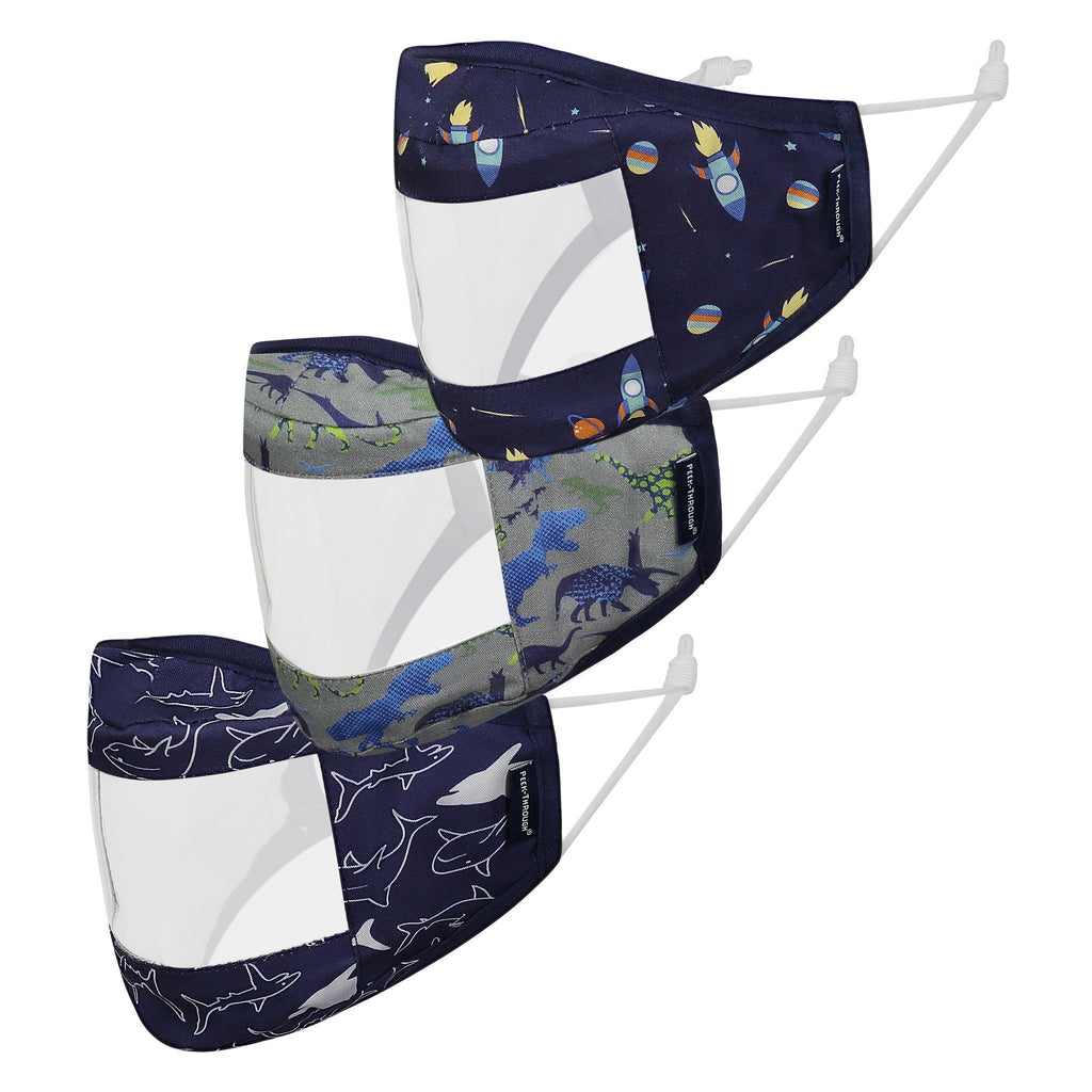 Peek-Through™  Masks 3 Pack (Ages 4-12 Years) - Navy Space - Andy & Evan