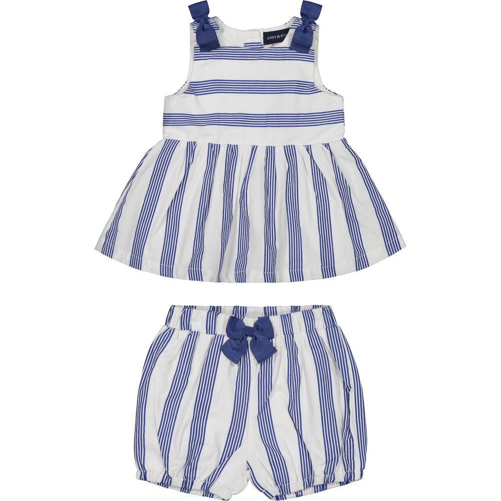 Baby Girl White Striped Dress Set - Andy & Evan