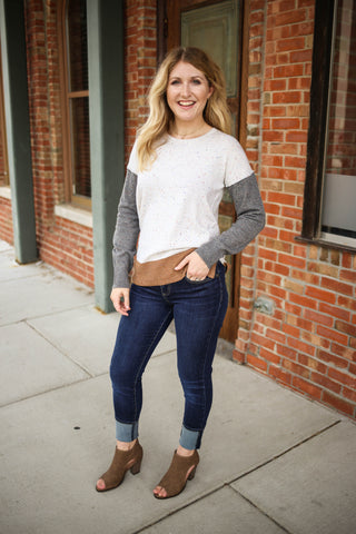 Neutral Color Block Sweater Outfit