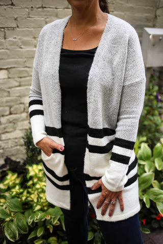 Heather grey, black, and white stripe color block cardigan