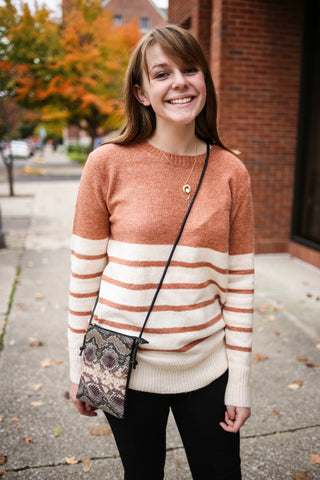 Rust Colorblock Sweater
