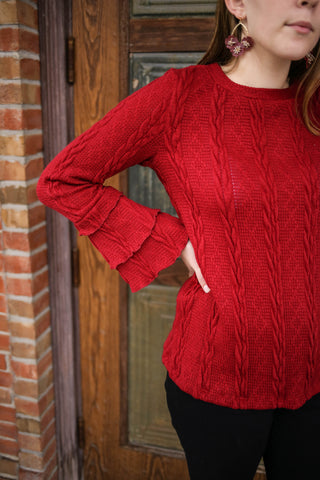 Cherry Red Cable Knit Sweater