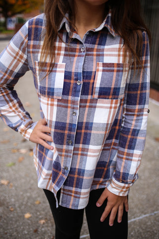 Rust blue and white flannel top