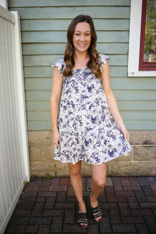 Navy and Ivory Floral Print Babydoll Dress