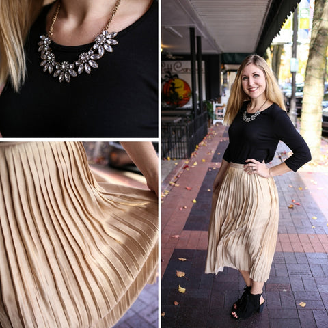 Boutique Elise's Gold Pleated Skirt