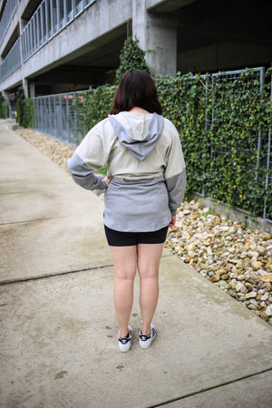 Contrasting Grey Zip-Up Hoodie | Boutique Elise | Gracie