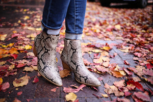 Womens snakeskin print ankle boot