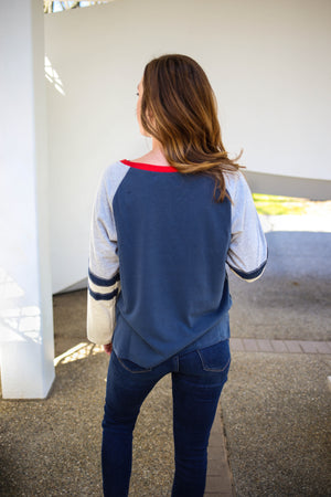 Womens Navy and Red Raglan Long Sleeve Top
