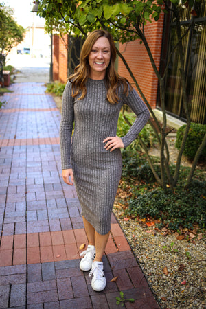 Womens Grey Long Sleeve Ribbed Midi Dress | Boutique Elise | Campbell
