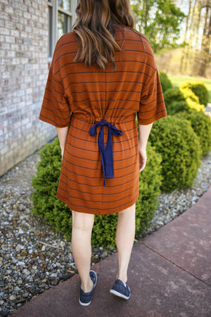 Stripe Shirt Dress with Tie Back | Boutique Elise | June