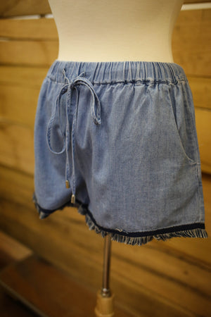 Coverstitched Fringe Trim Shorts