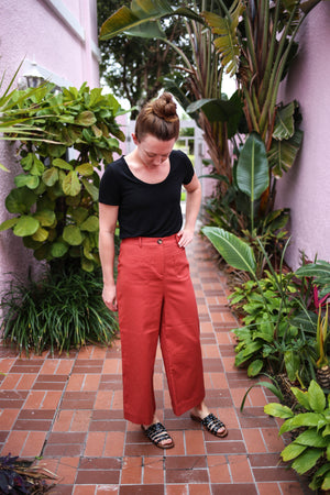 Terracota high waist pant with button front