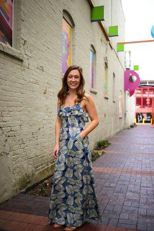 Navy and green palm print maxi dress