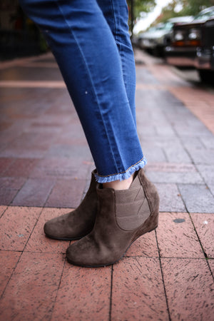 Tan faux suede wedge ankle boot