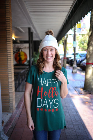 Coverstitched Happy Holla-Days Tee