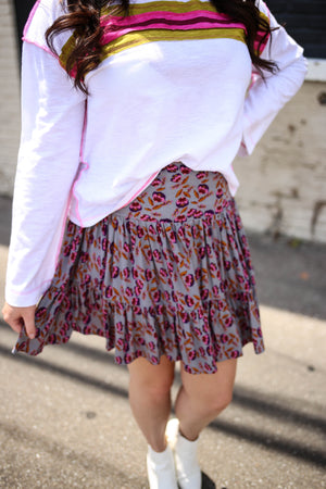 Grey and pink floral print smocked skirt
