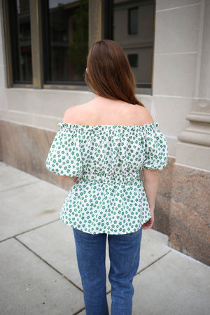 Womens Blue and White Stripe Short Sleeve Top