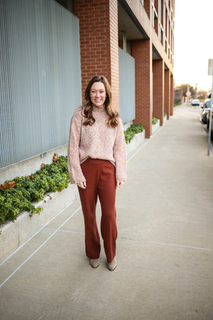 Womens Hazelnut Wide-leg Sweater Pant