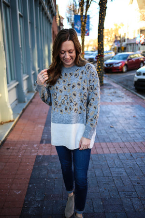 Womens Subtle Animal Print Grey and Ivory Sweater | Boutique Elise | Elm
