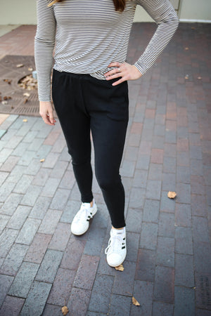 Womens Black Ribbed Lounge Joggers