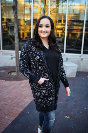 Black Chenille and Metallic Detail Cardigan | Boutique Elise | Empress
