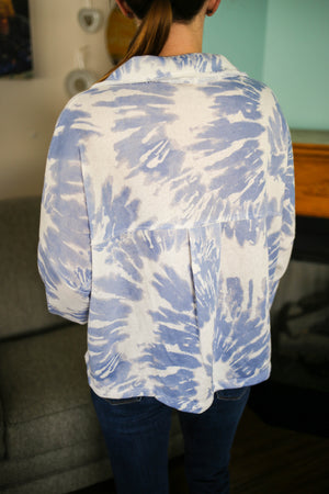 Womens Blue and White Tie Dye Jacket