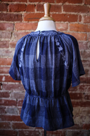 Listicle Blue Check Embroidery Top