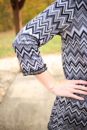 Womens Grey and Black Chevron Print Tunic