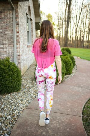 Pink Tie Dye Printed Highwaisted Leggings | Boutique Elise | Addison
