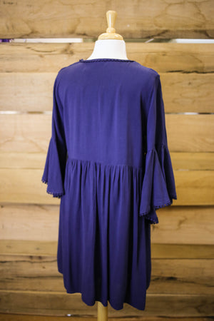 Womens Navy and Lace Trim Tunic Dress