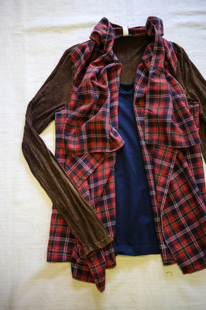Llove Plaid Open Cardigan