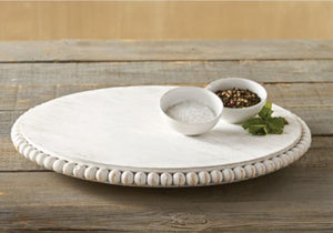 Mud Pie Beaded White Lazy Susan