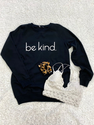 Womens Black Graphic Be Kind Sweatshirt | Boutique Elise