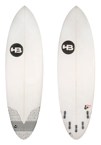Hot Buttered 2018 HBomb Epoxy Clear White (5'8 6'2 6'6) With Fins and Wax