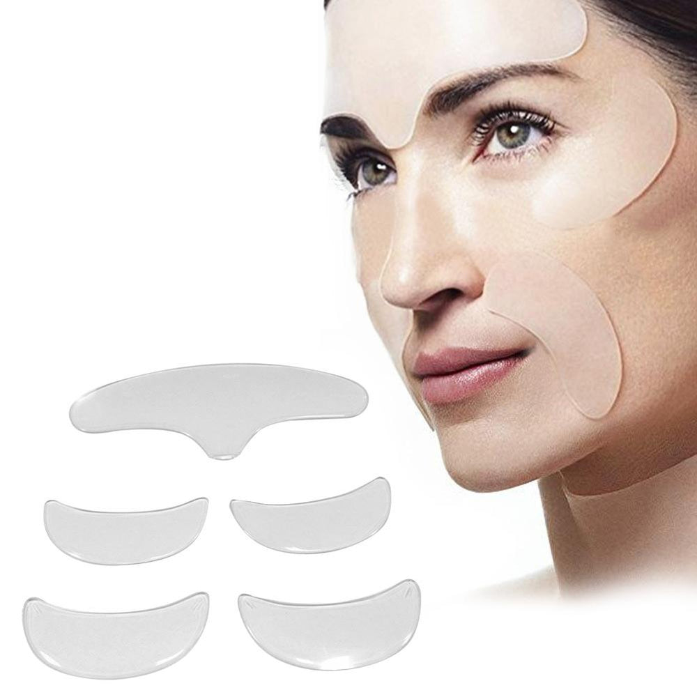 5 PCS Silicone Anti-Wrinkle Face Forehead Stickers Patch Set  Frown Lines Removal Face Repairing Anti-aging Forehead Lifting Kit
