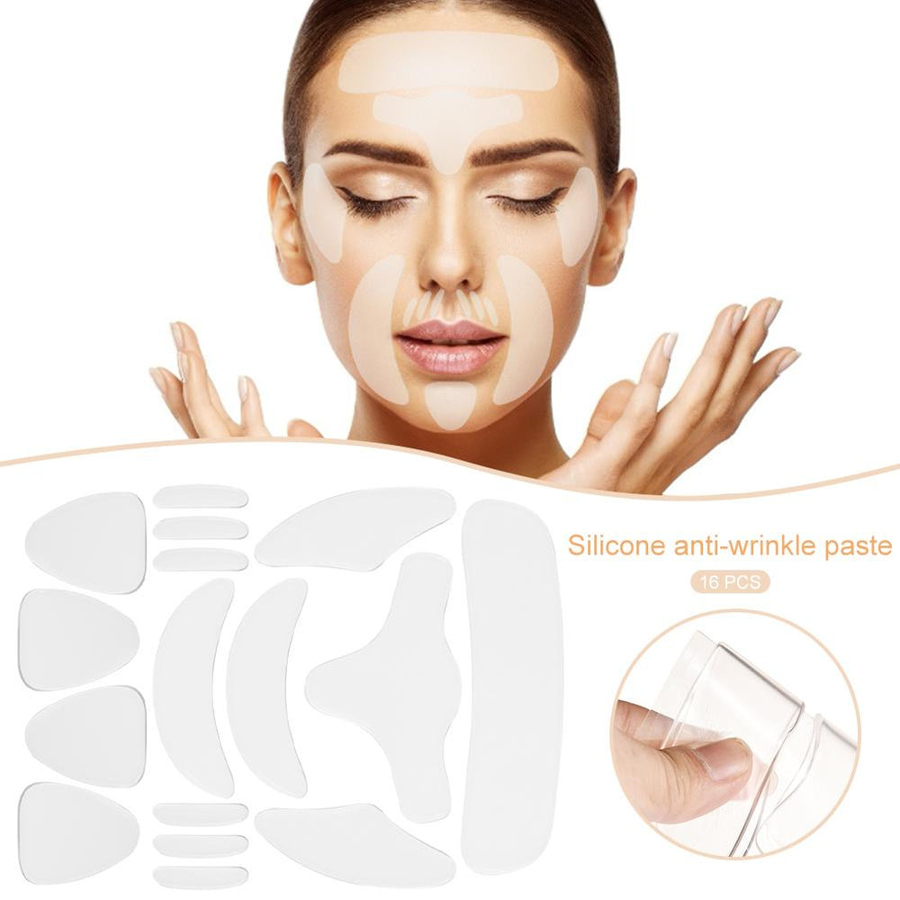 SILICONE WRINKLE PATCHES-Face Lifting 16 PC Set- Face Forehead Cheek Chin Eye