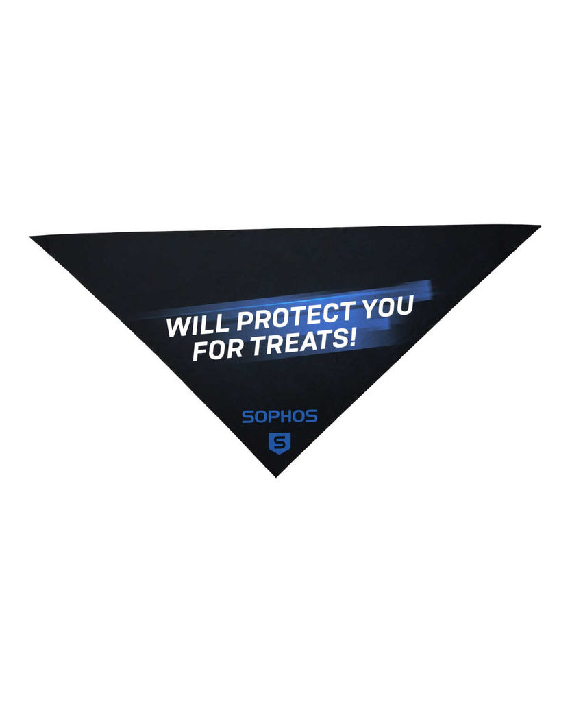 "Sophos dog bandana featuring the phrase ""will protect you for treats"""