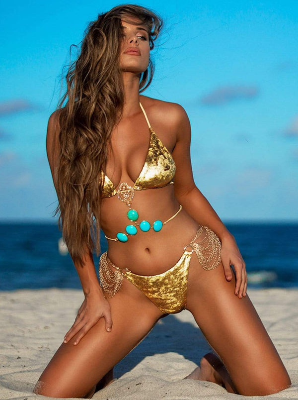 Bikini Crush Bottom Boho Princess Gold Bottom